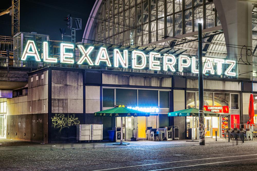 Alexanderplatz at night September 13 2013 in Berlin Germany
