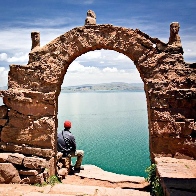 Archway on Taquile Island Lake Titicaca Peru