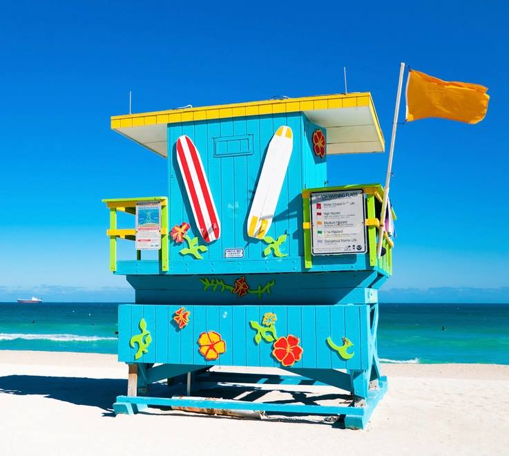 Blue Lifeguard Tower in Miami Beach Florida