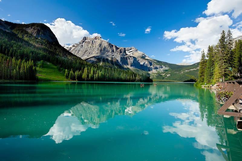 Boat on Emerald Lake Yoho National Park British Columbia Canada