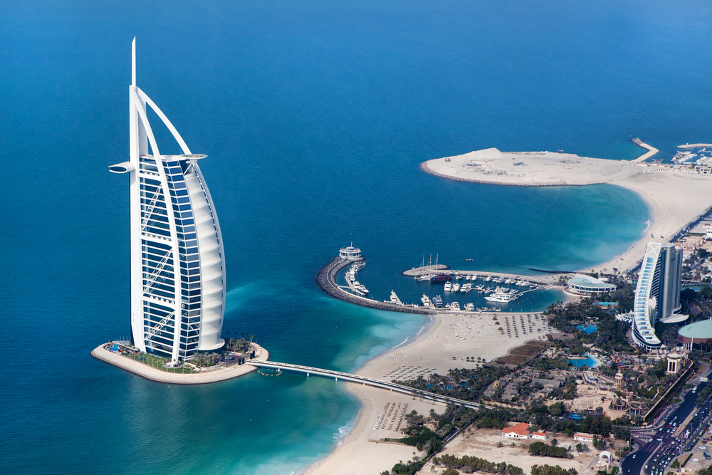 Burj Al Arab is a luxury 5 star hotel built on an artificial island in front of Jumeirah beach
