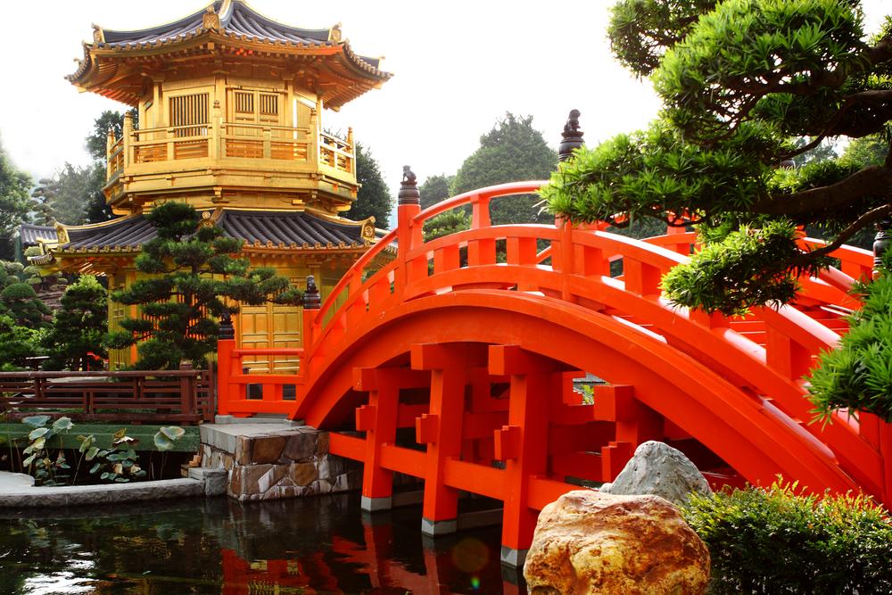 Chi Lin Nunnery and Chinese garden landmark in Hong Kong