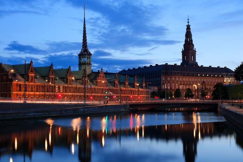 Christiansborg Palace over the channel in Copenhagen