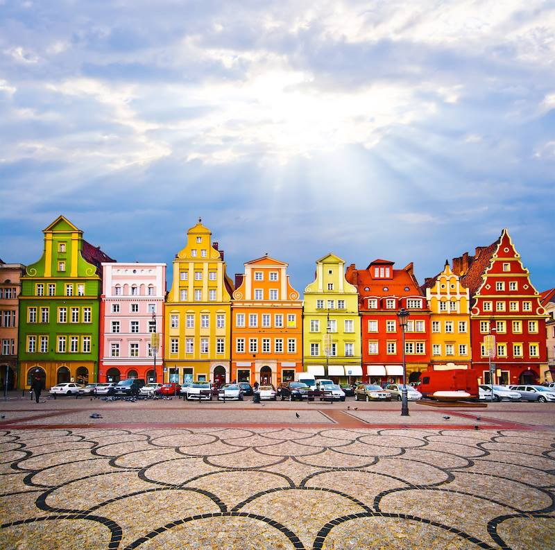 City centre Solny Square tenements rynek Wroclaw Poland