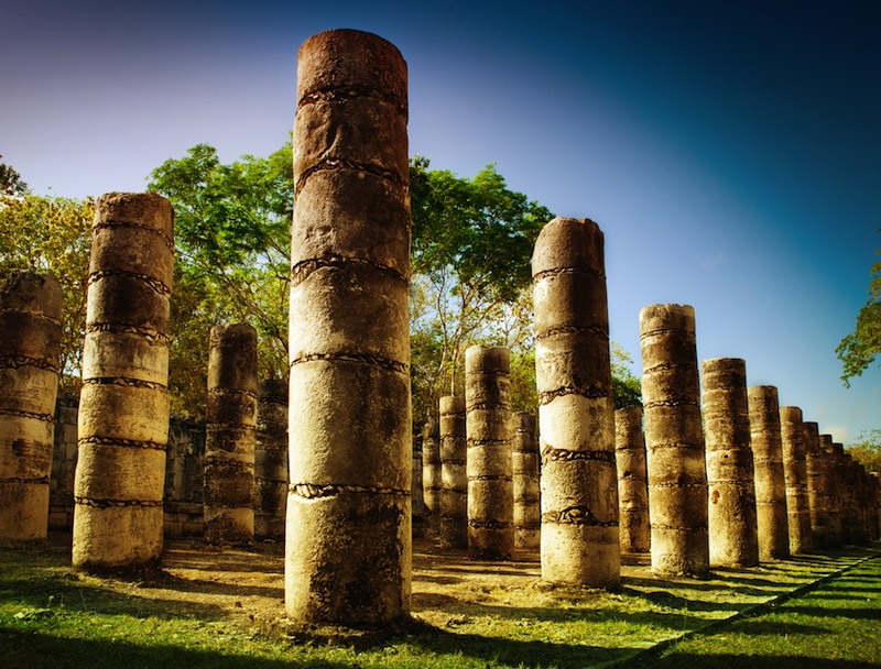 Columns in the Temple of a Thousand Warriors Mexico