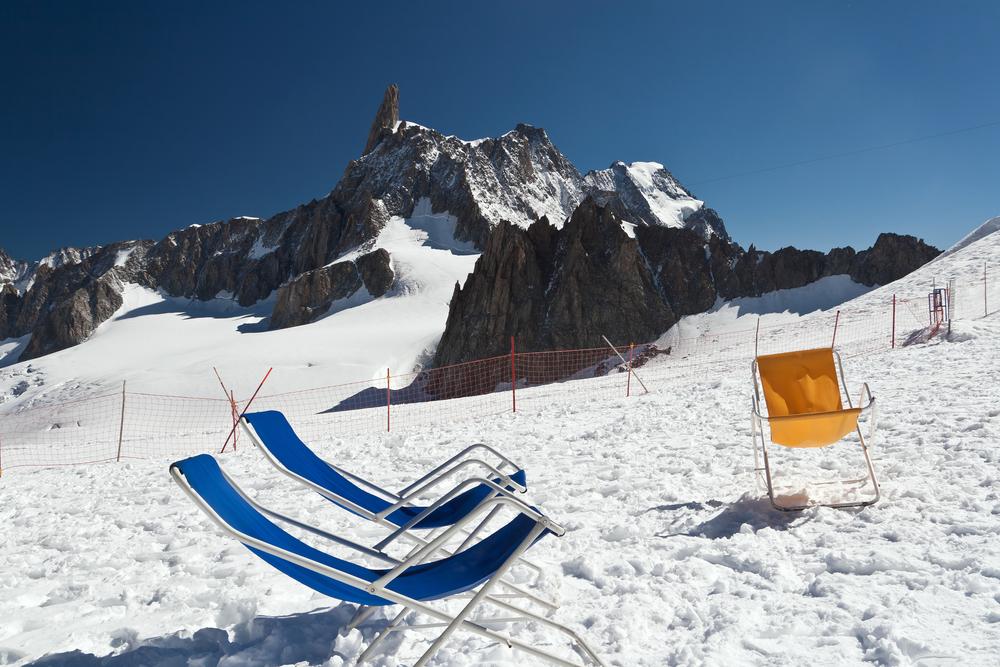 Dent du Geant glacier Mont Blanc massif Stock Photo