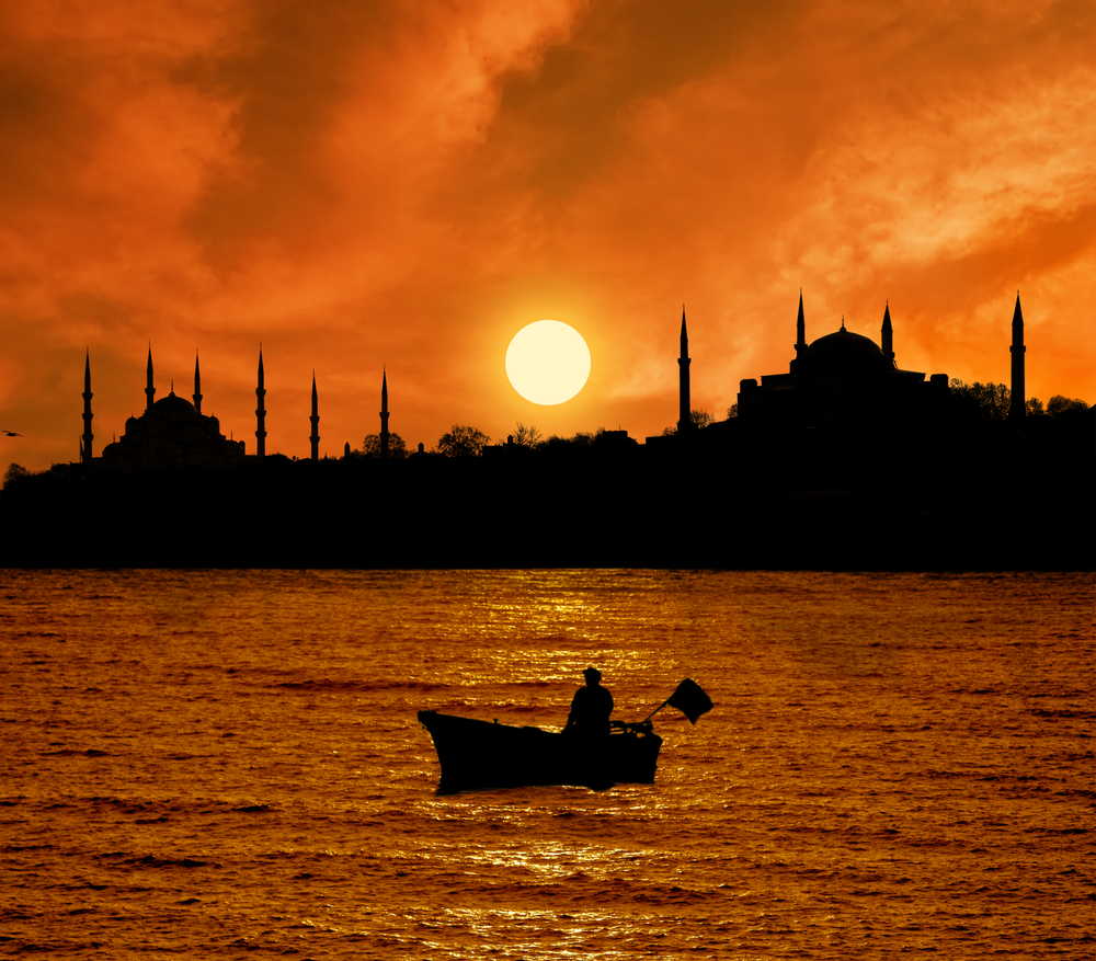 Istanbul Silhouette and the fishing boat