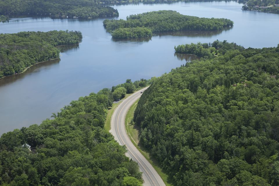 Mississippi River and a curving road near Brainerd Minnesota