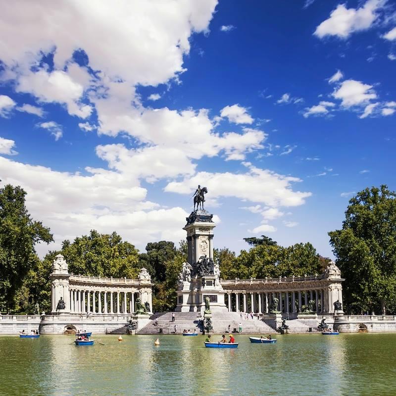 Monument to Alfonso XII in the Parque del Buen Retiro Park of the Pleasant Retreat in Madrid Spain