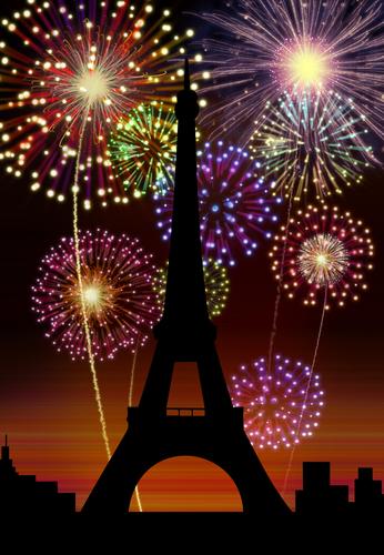 New year Paris city Eiffel scene