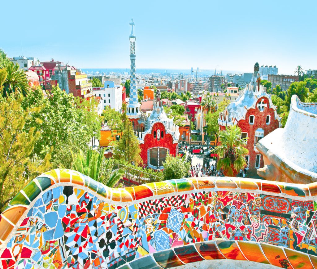 Park Guell over bright blue sky in Barcelona