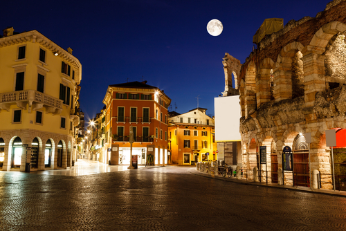 Piazza Bra and Ancient Roman Amphitheater in Verona Italy