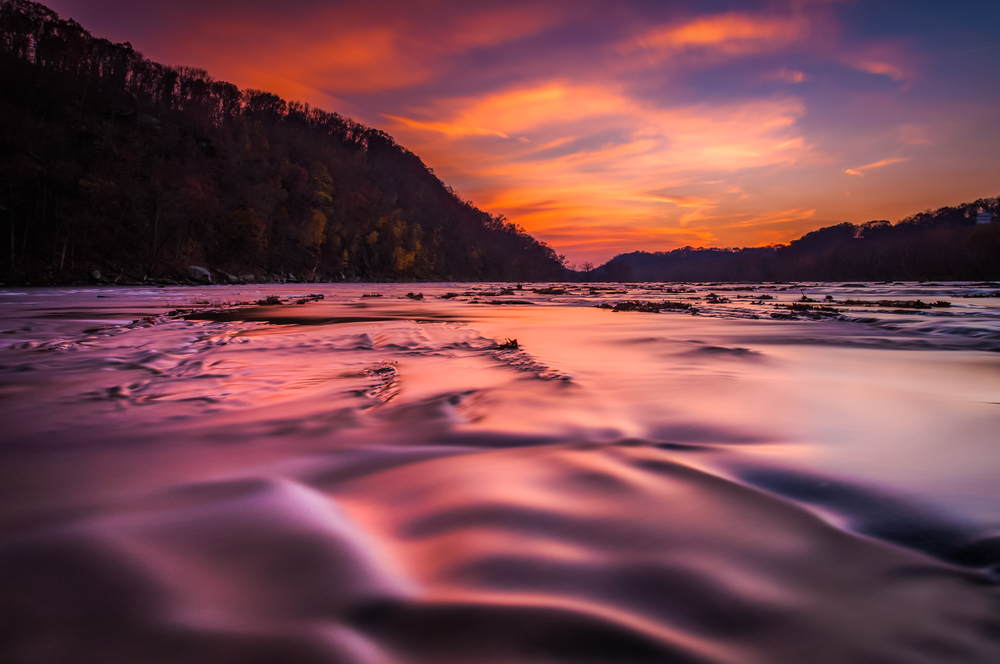 Shenandoah River at sunset from Harpers Ferry West Virginia
