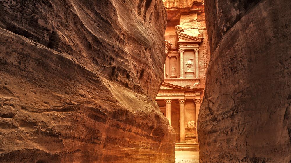 Siq on entrance of City of Petra Jordan