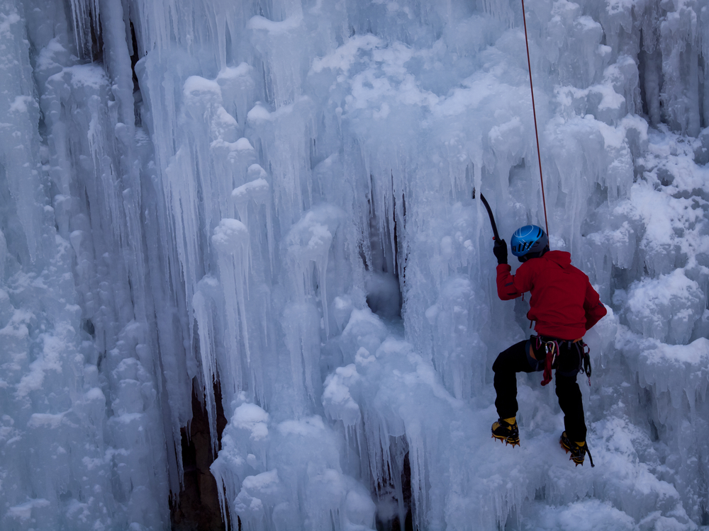 frozen waterfall in Ice park Ouray