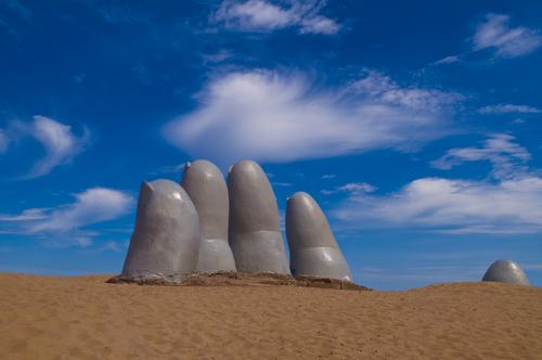 the Hand a famous sculpture in Punta del este Uruguay