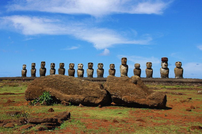 15 Moai and Sleeping Moai at Ahu Tongariki Easter Island Chile jpg