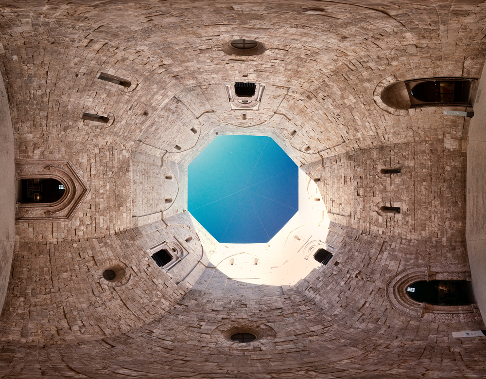 360 degree view inside Castel del Montes courtyard in Puglia Italy