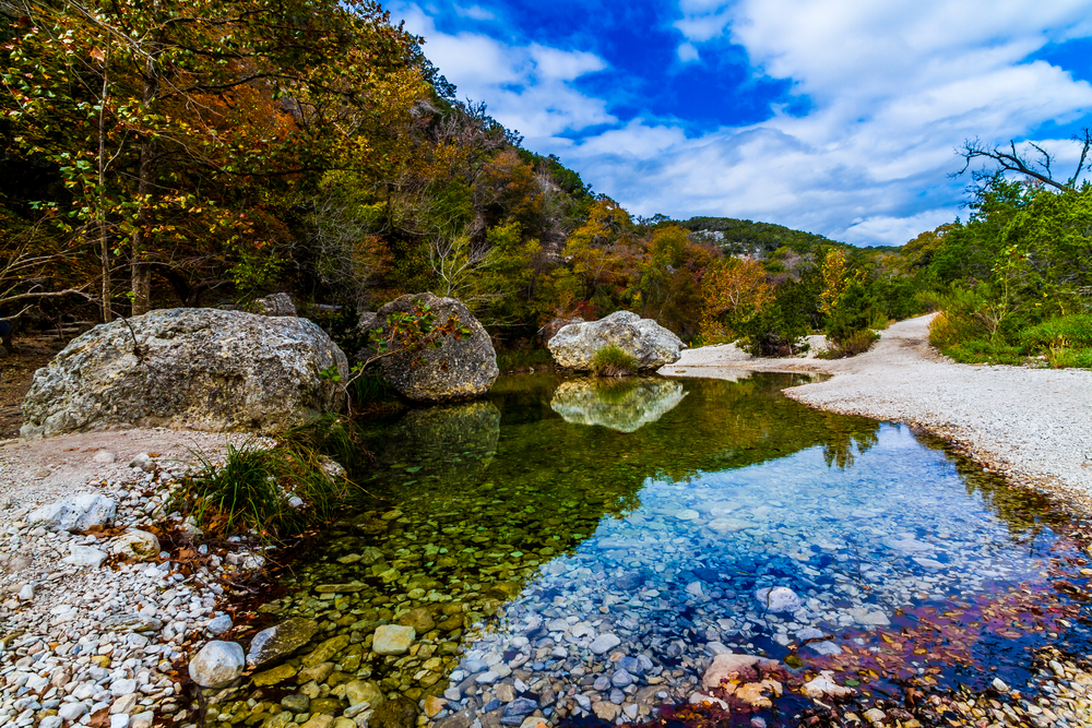 A Picturesque Scene with Beautiful Fall Foliage on a Tranquil Babbling Brook at Lost Maples State Park in Texas