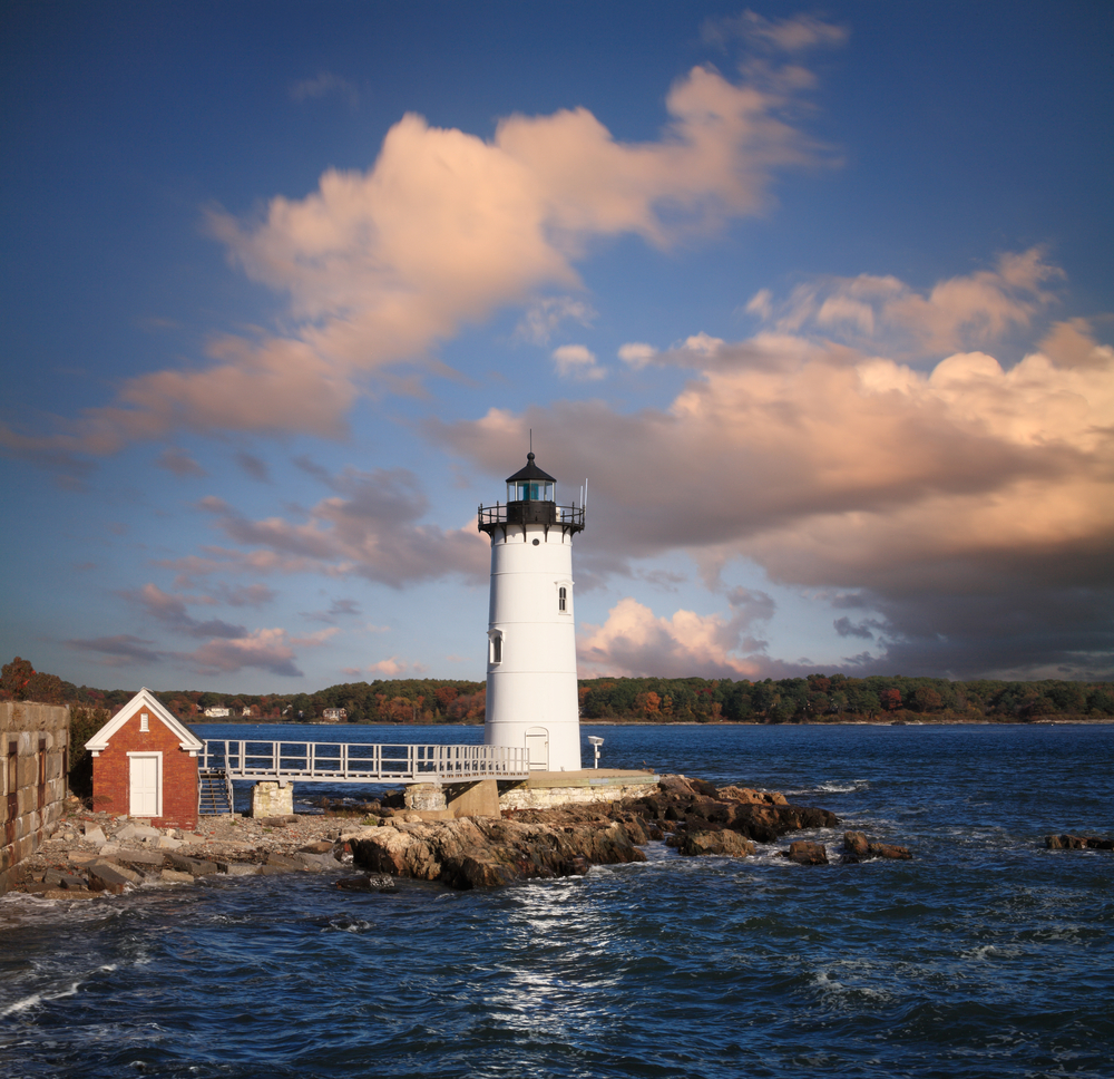 A Typically Artistic New England Cloudscape And Gorgeous Afternoon Light Over The Portsmouth Harbor Light New Castle New Hampshire USA