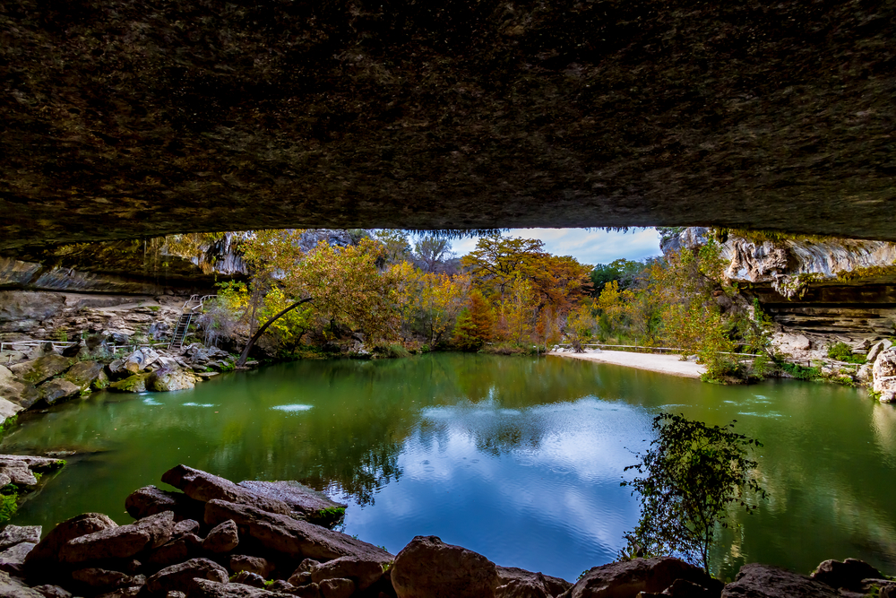 A View 0of Beautiful Hamilton Pool Texas in the Fall inside the Grotto of the Sinkhole