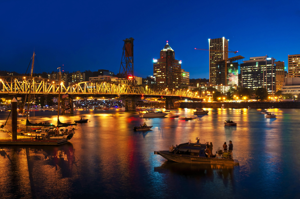 A beautiful night view of portland