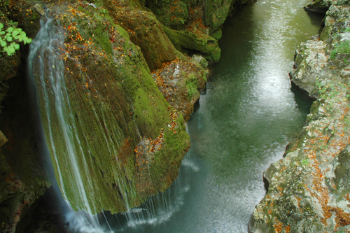 A mossy waterfall Bigar cascade in Romania