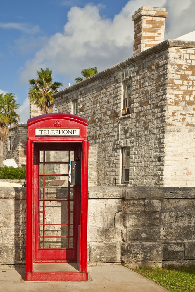 A red telephone box typical of English influence in the Royal Naval Dockyard Bermuda