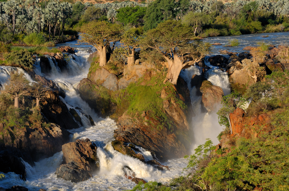 A small portion of the Epupa waterfalls in on the border of Angola and Namibi