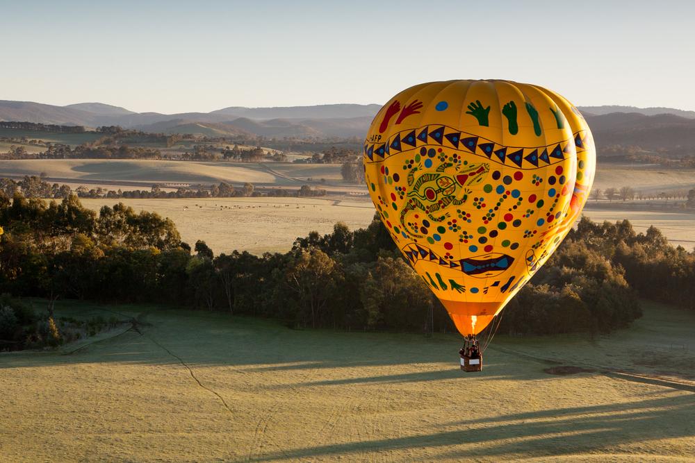 A sunrise hot air balloon flight over the Yarra Valley in Victoria Australia