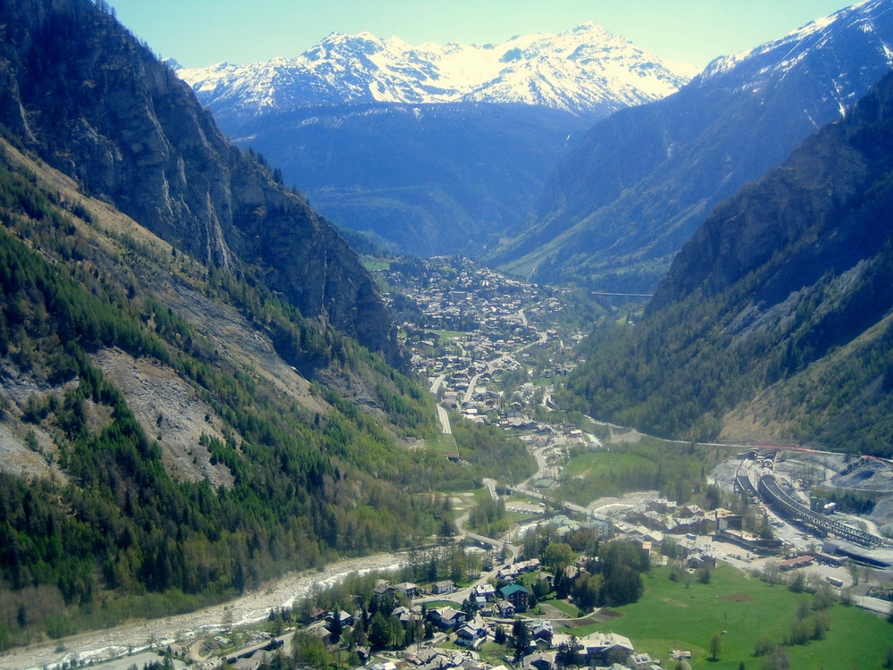 A view of Courmayeur seen from the Mont Blanc Aosta Valley northern Italy