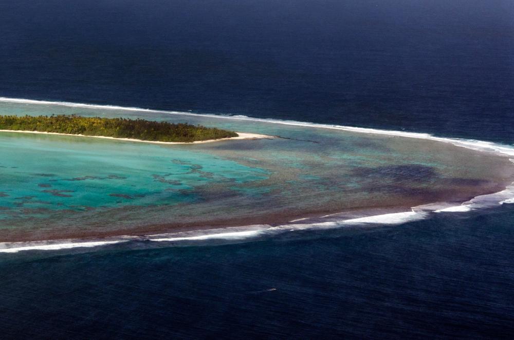 AITUTAKI SEP 16 Aerial view of Aitutaki lagoon on Sep 16 2013