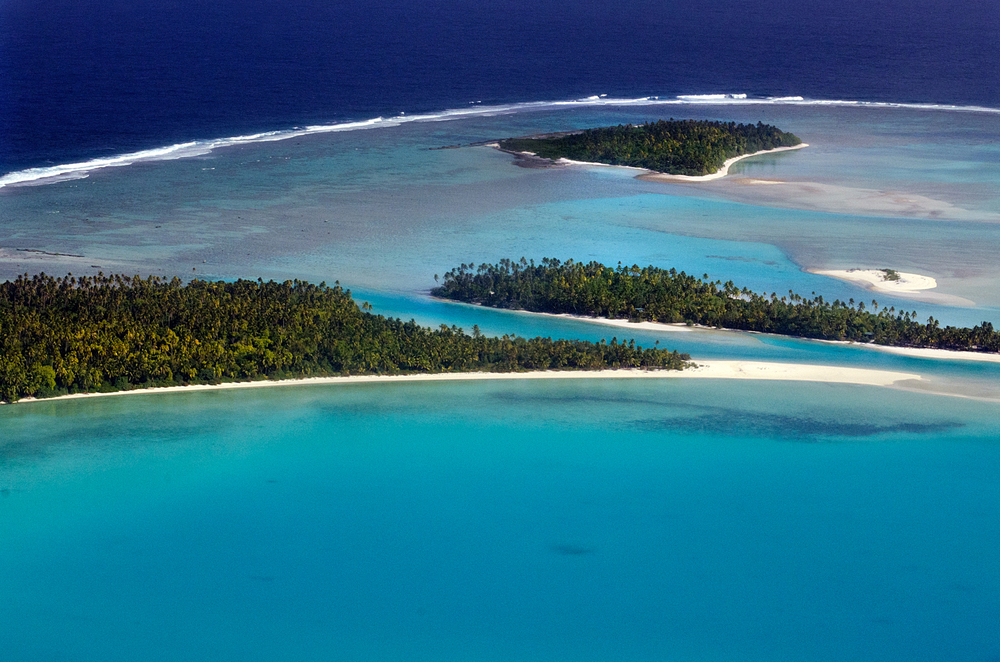AITUTAKI SEP 16 Aerial view of One foot island Tekopua island and Motukitiu Island on Sep 16 2013