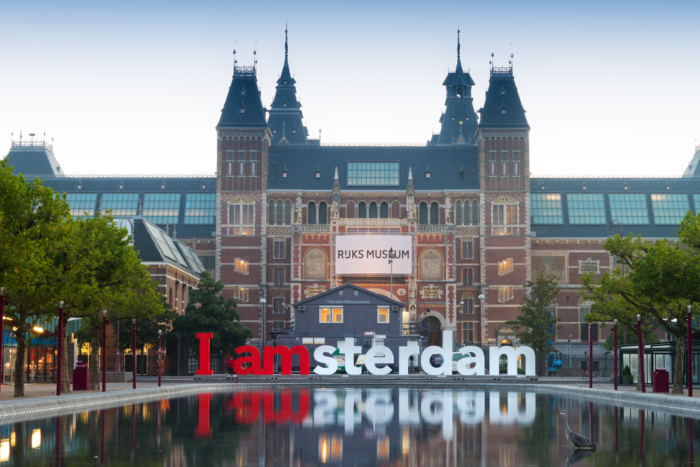 AMSTERDAM SEPTEMBER 2012 The Rijksmuseum Amsterdam museum area with the words IAMSTERDAM is shown in September 2012 in Amsterdam The Netherlands