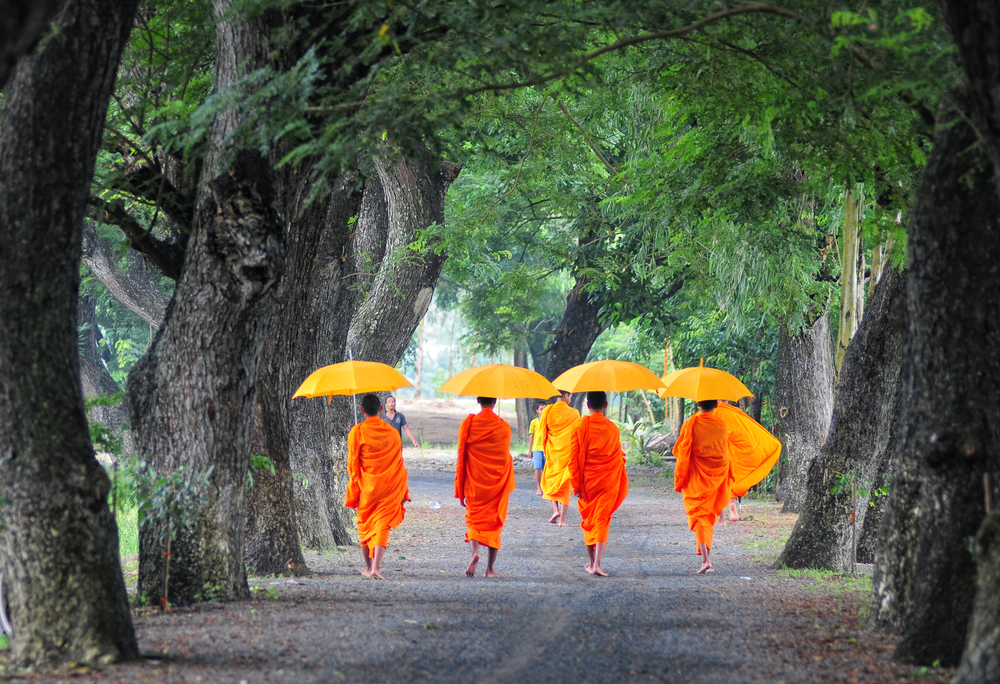 AN GIANG VIETNAM FEB 19 Unidentified young monks walking morning alms in An Giang Vietnam on Feb 19 2014