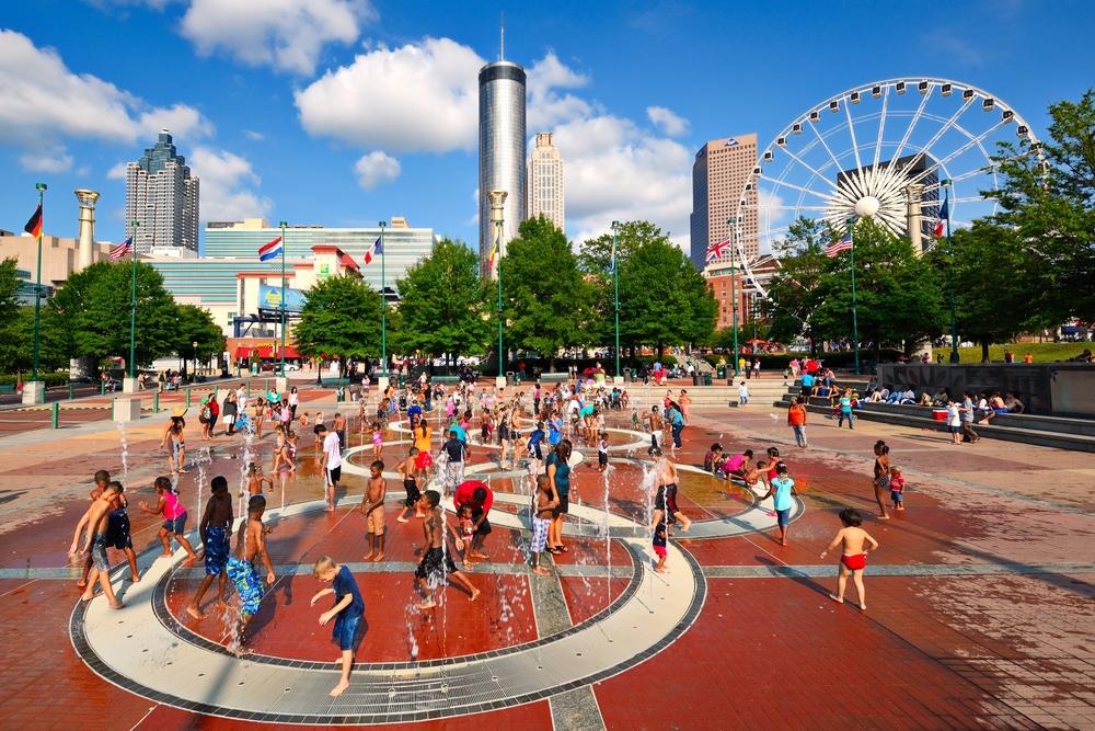 ATLANTA AUGUST 25 Children play at Centennial Olympic Park August 25 2013 in Atlanta GA