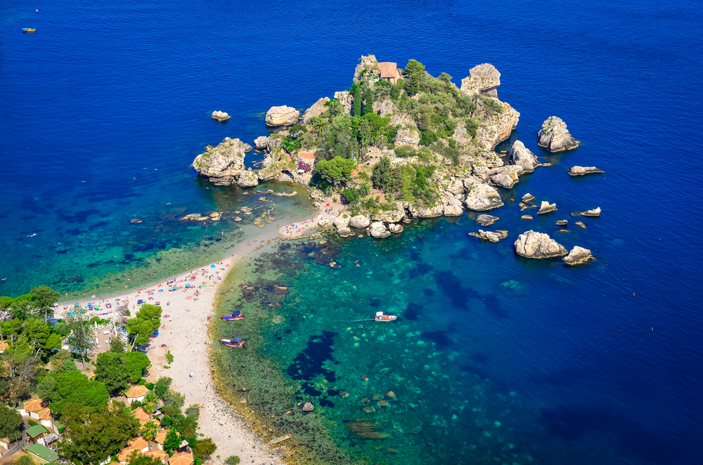 Aerial view of Isola Bella beach in Taormina Sicily Italy