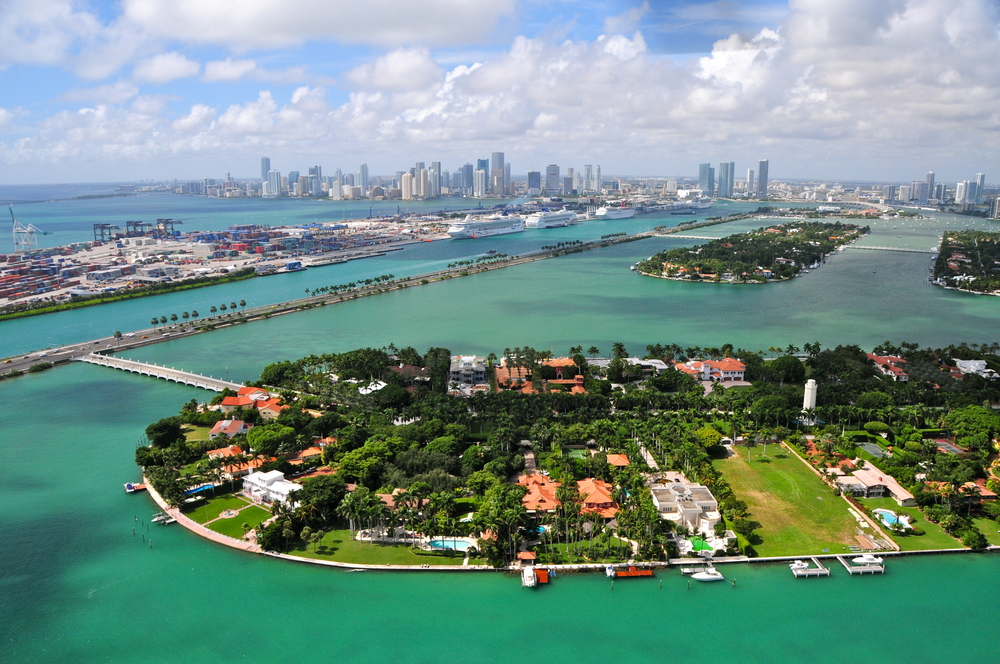 Aerial view of Star Islands Miami Florida USA