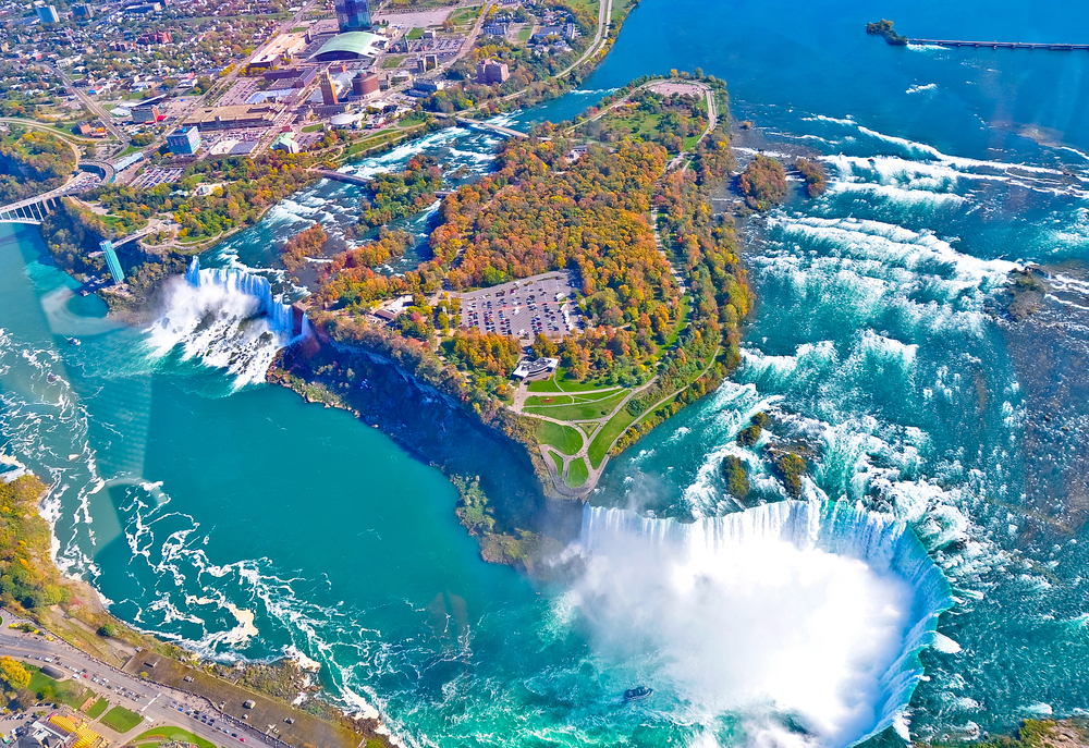Aerial view of amazing niagara falls Canada and United States of America