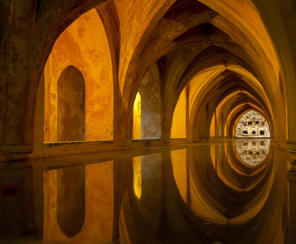 Alcazar Queens bath Seville Andalucia Spain 7