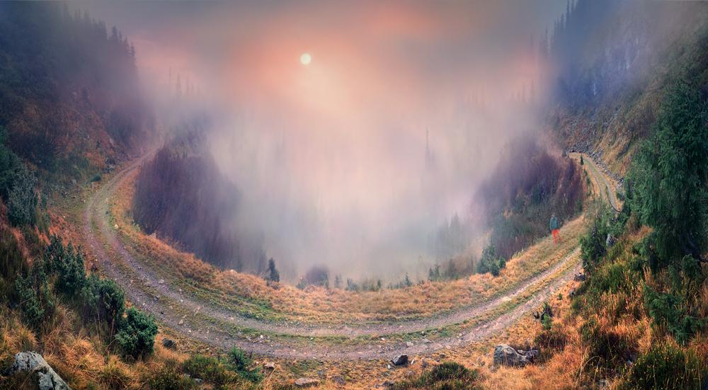 Amazing turn of the mountain road to the Transcarpathian mountain range