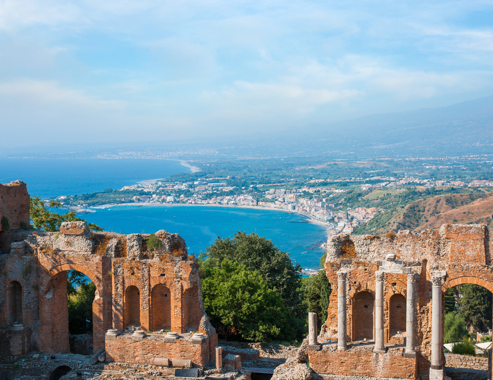 Ancient greek amphitheatre in Taormina city Sicily island Italy