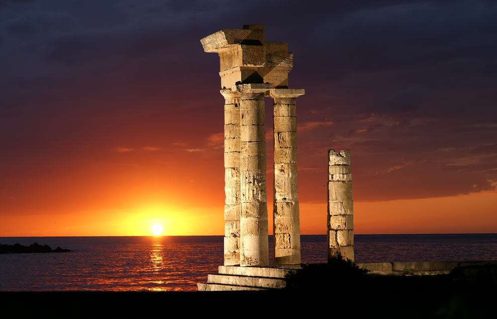 Apollo Temple at the Acropolis of Rhodes at night Greece 3
