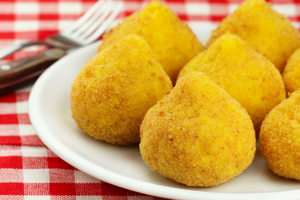 Arancini deep fried stuffed rice balls typical of Sicily