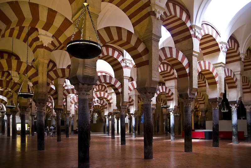Archway inside the mosque in Cordoba