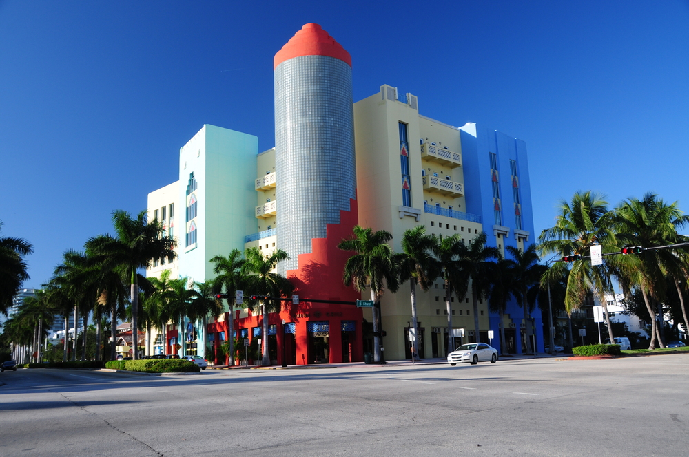 Art deco stores on Ocean Drive South Beach Miami Florida USA