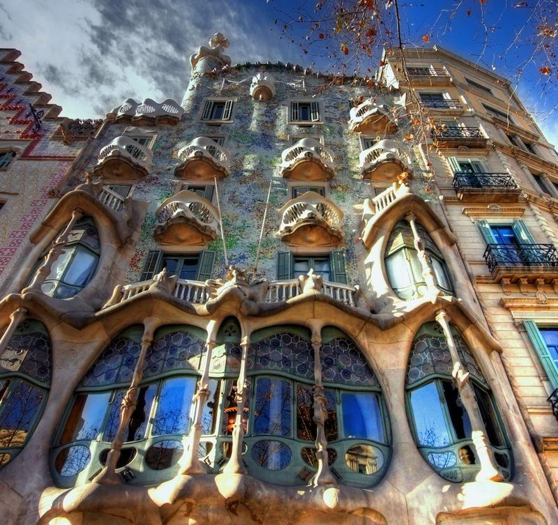 BARCELONA FEBRUARY 18 The facade of the house Casa Battlo