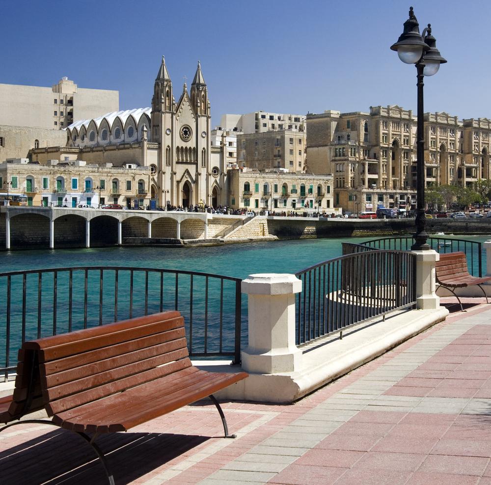 Balluta Bay in small coastal town of Sliema on the Mediterranean island of Malta