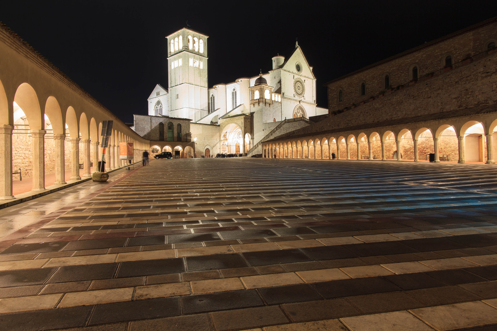 Basilica di San Francesco in the night Assisi Italy