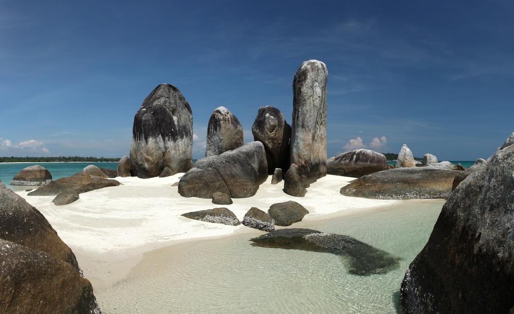 Batu Berlayar Island with natural rock formation tourist destination Belitung Island Indonesia